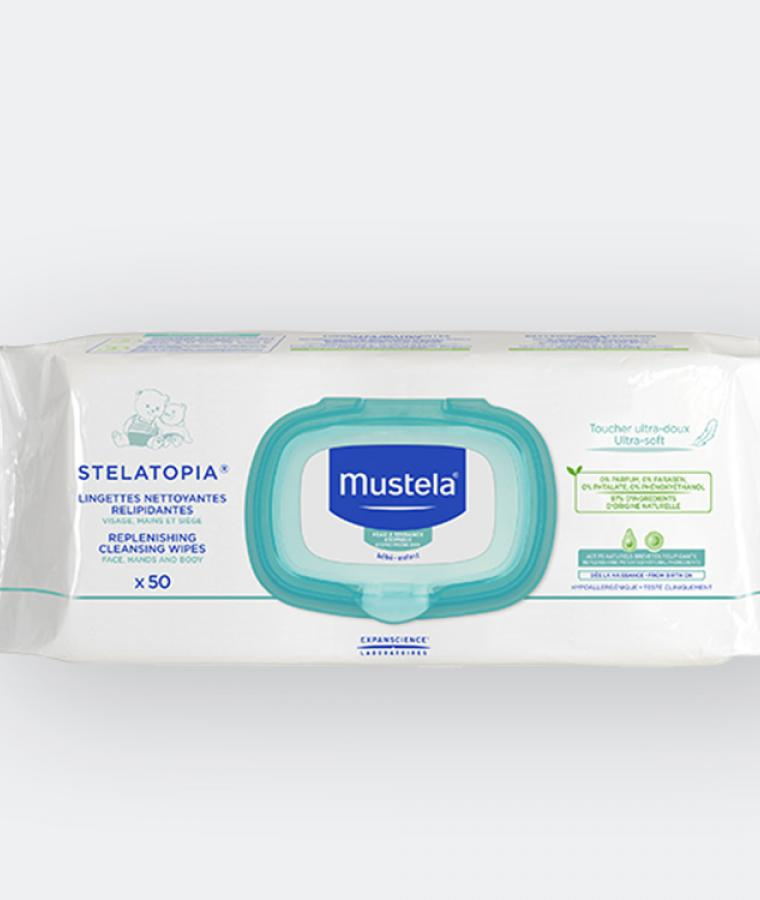 Mustela Stelatopia cleansing wipes for babies with atopic-prone skin